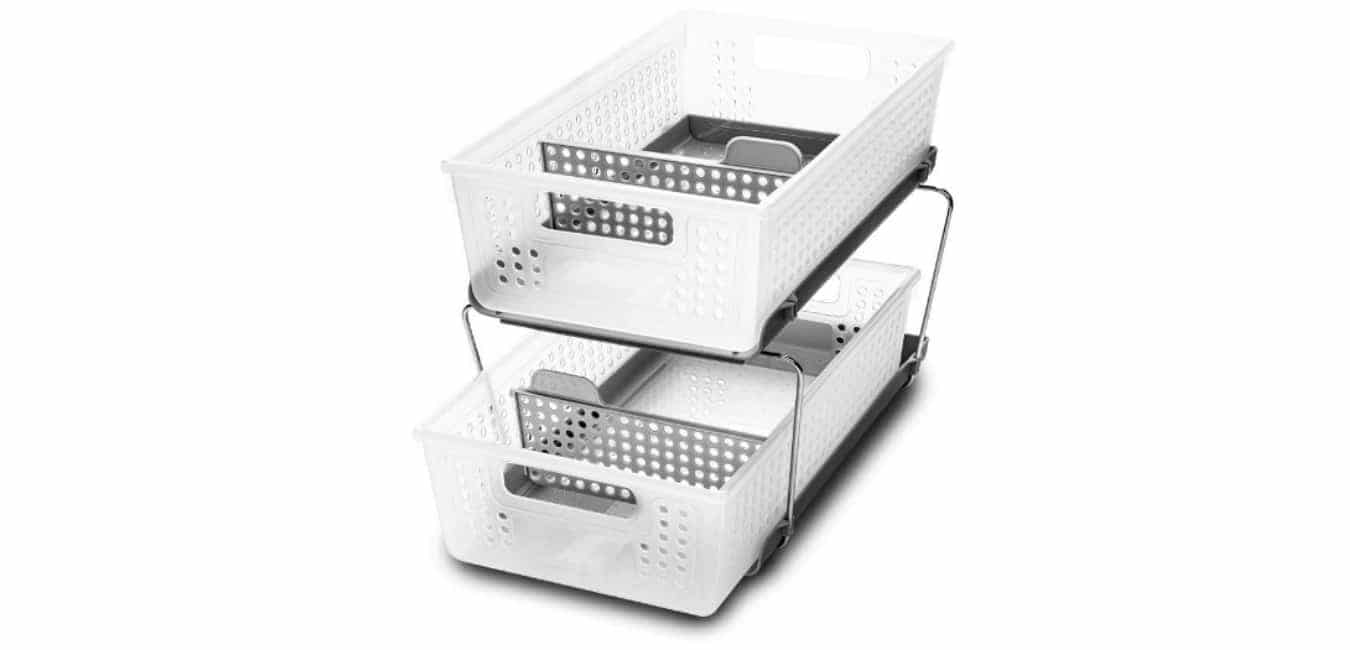 Madesmart 2-Tier Organizer Bath Collection Slide-out Baskets with Handles